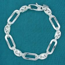 Sterling silver men's bracelet. Solid rectangular and mariner link.