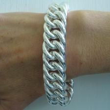Sterling silver large double curb bracelet 18mm. Hollow link.