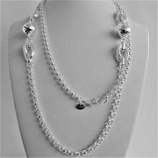 Long sterling silver necklace cm 100, round rolo link chain with bead.