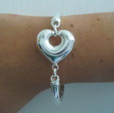 Sterling silver semi-bangle bracelet with large heart 26mm.