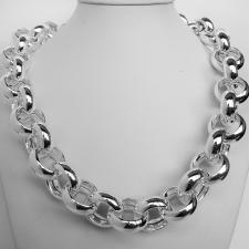 Sterling silver round rolo large link necklace 22mm. Hollow link 139 grams. Silver belcher neckla...