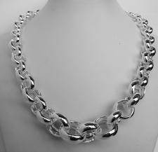 Sterling silver graduated round rolo link necklace 22-12mm. Hollow link. Silver belcher necklace.