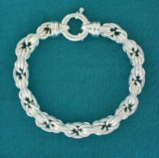 Solid silver byzantine bracelet