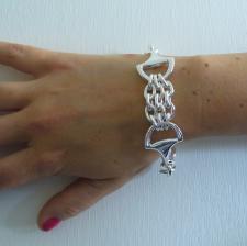 Sterling silver horsebit bracelet, 925 Italy equestrian jewelry