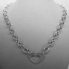 Sterling silver necklace with heart. Oval link chain 9mm.