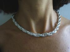 Silver double oval link naecklace