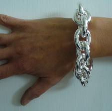 Sterling silver large oval link bracelet 24mm. Hollow chain. 85 grams.