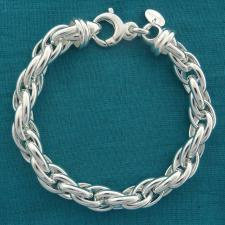 Bracciale artigianale in argento 925 MASSICCIO maglia ovale doppia. Larghezza 9mm.