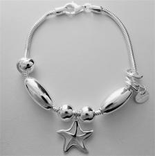 Bracciale in argento 925 charms scorrevoli. Fantasia stella marina.