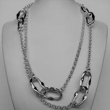 Sterling silver handmade necklace. Asymmetrical link 17x27mm and round link chain. Lenght 100 cm.