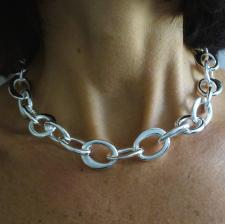 Handmade silver necklace made in Italy