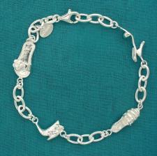 Bracciale in argento 925 ciondoli incatenati. Stivaletto, scarpa, tacco e ciabattina.