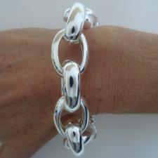 Sterling silver oval rolo large link bracelet 20mm.