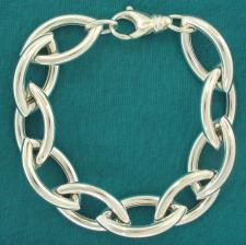 Sterling silver women's handmade bracelet. Hollow ogival link 16mm.