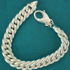 Sterling silver double curb bracelet 12mm. Hollow link.