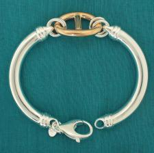 Sterling silver semi-bangle bracelet with 18 kt rose gold plating mariner link.
