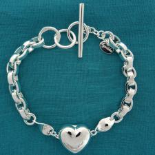 Bracciale toggle con cuore in argento 925