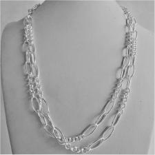 Long sterling silver necklace cm 100, round & oval link chain 8+3.