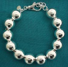 Sterling silver bead bracelet 14mm.