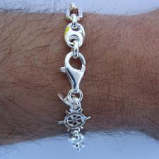 Sterling silver men's bracelet. Mariner link chain 7,5mm with nautical wheel.
