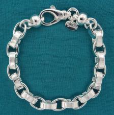 Bracciale in argento 925 MASSICCIO, rolo ovale compatto 7,5mm, filo piatto. Finali componente a m...
