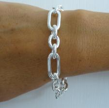 Sterling silver rectangular 3+1 link bracelet 10mm. Hollow chain.