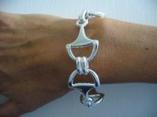 Silver bracelet with horsebit, made in Italy
