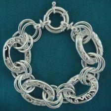 Sterling silver textured oval link 22mm. Made in Italy.