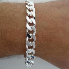 Bracciale grumetta uomo diamantata 2 lati. Larghezza 8,2mm.