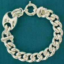 925 silver marina-curb link bracelet 19mm.