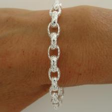 Sterling silver textured oval link bracelet 7mm.