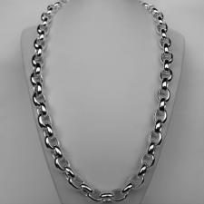 Sterling silver oval rolo link necklace 13mm. Length 60cm. Oval belcher necklace.