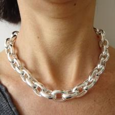 Sterling silver oval rolo link necklace 15mm hollow chain