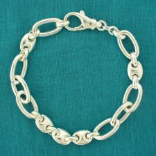 Women's maglia marina & oval link bracelet in sterling silver. 10mm.