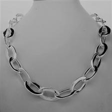 Sterling silver handmade necklace. Asymmetrical oval link 15mm.
