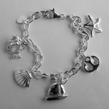Bracciale argento charms mare