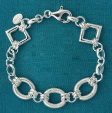 Sterling silver frosted link bracelet 13mm. Made in Tuscany.