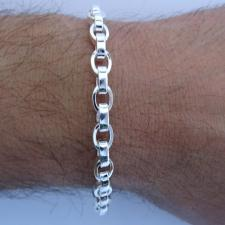 Silver oval link bracelet for men