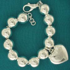Sterling silver bead bracelet 14mm with heart charm.