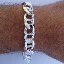 Sterling silver flat marina bracelet 12mm x 3,4mm.