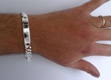 Braccialetto argento piastra - Catena argento uomo