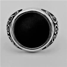 Anello chevalier argento e onice nera uomo