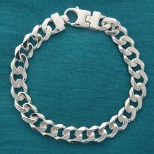 Bracciale uomo groumette diamantata 6 lati. Larghezza 10mm.