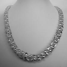 Solid 925 silver graduated necklace 12,6mm-7,3mm. Handmade solid chain 111 grams.