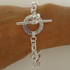Greek key link bracelet in sterling silver