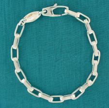 Braccialetto uomo in argento 925 catena maglia rettangolare.