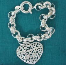 Sterling silver belcher bracelet with heart charm