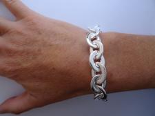 Silver oval flat links bracelet made in Italy
