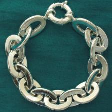 Sterling silver flat oval link bracelet 14mm. Hollow chain.