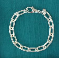 Women's sterling silver rectangular link bracelet.